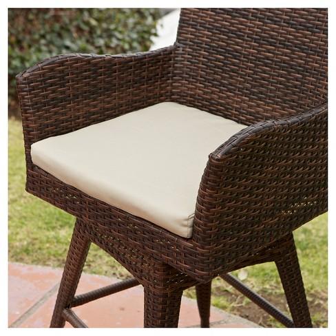 Braxton Wicker Swivel Patio Bar Stool With Cushion Multi Brown