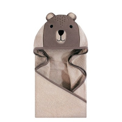 Hudson Baby Infant Cotton Animal Face Hooded Towel, Modern Bear, One Size