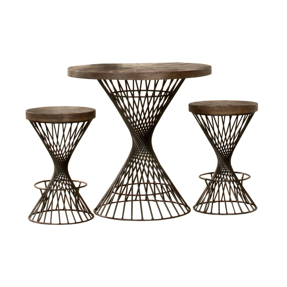 3pc Kanister Round Counter Height Dining Set Walnut/Pewter (Brown/Silver) - Hillsdale Furniture