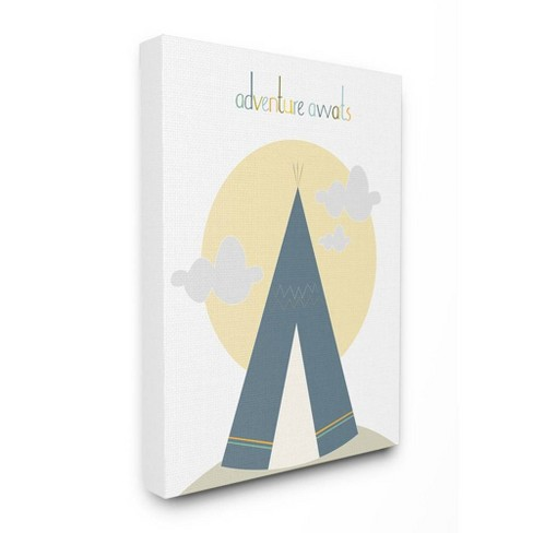 "16""x1.5""x20"" Adventure Awaits Tee Pee In Blue Stretched Canvas Wall Art - Stupell Industries - image 1 of 2"