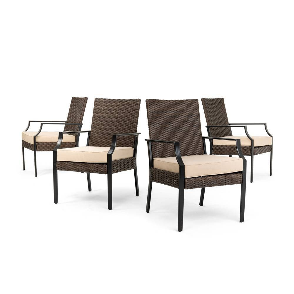 Image of Addyson 4pk Woven Stationary Outdoor Dining Chair with Sunbrella Spectrum Sand Cushion - Brown - La-Z-Boy