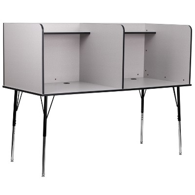 Flash Furniture Double Wide Study Carrel with Adjustable Legs and Top Shelf