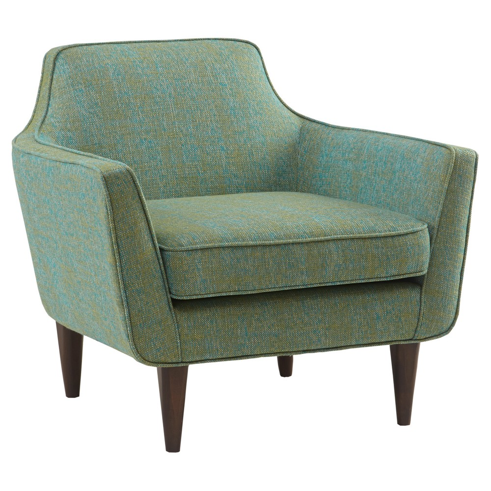 Grace your living room with the Rett Mid Century Upholstered Accent Chair. The pulled-back upholstery features elegant curved lines in a vibrant blue and green hue. The cushions are filled with high density foam to bring comfort and longevity to its shape. The frame is held on tapered birch wooden legs to accentuate the mid-century lifestyle look. Leg assembly required. Pattern: Solid.