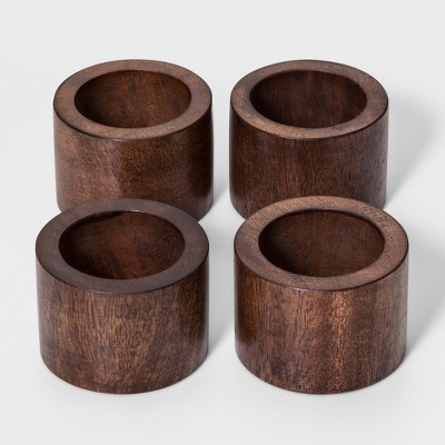 Set Of 4 Wooden Round Napkin Ring Brown - Threshold™