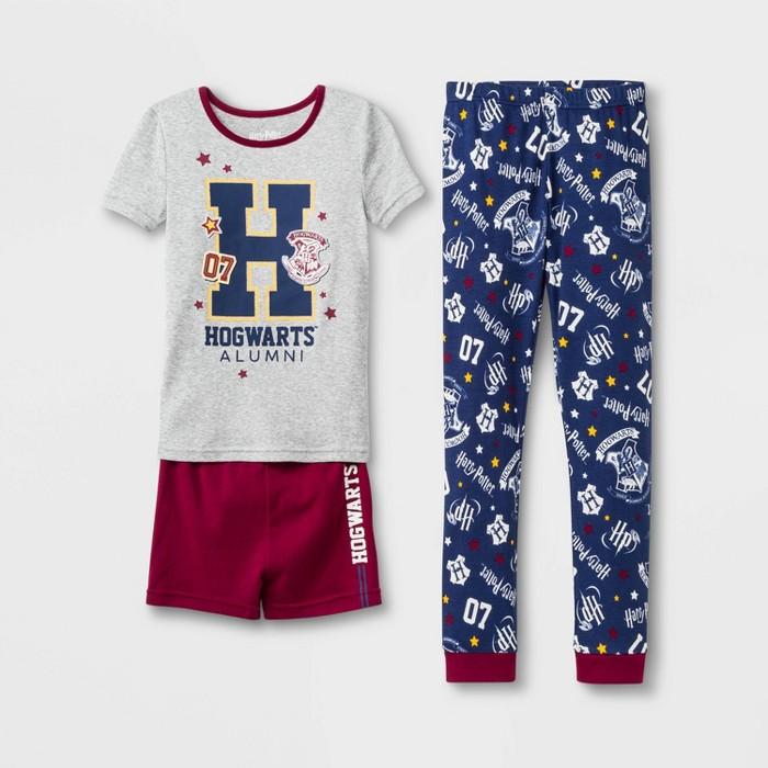 Girls' Harry Potter Hogwarts Alumni 3pc Pajama Set - Gray/Maroon - image 1 of 1