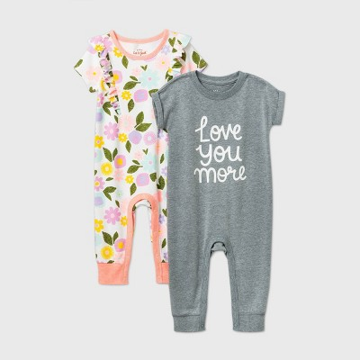 Baby Girls' Floral 2pk 'Love you More' Romper - Cat & Jack™ Gray 3-6M