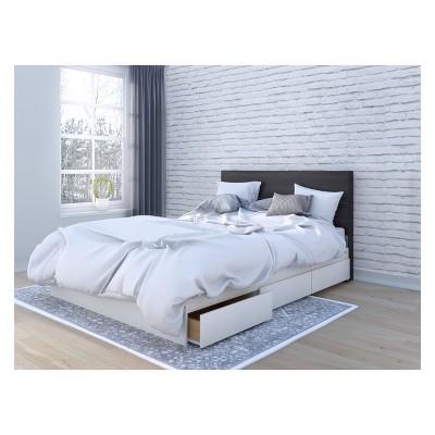 Cadence Storage Bed with Headboard Queen White & Black - Nexera