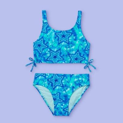 Girls' Star Print Tie-Dye Midkini Set - More Than Magic™ Blue