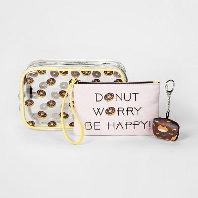 Girls' Emoji Donut Worry 3pc Bag Set - Pink
