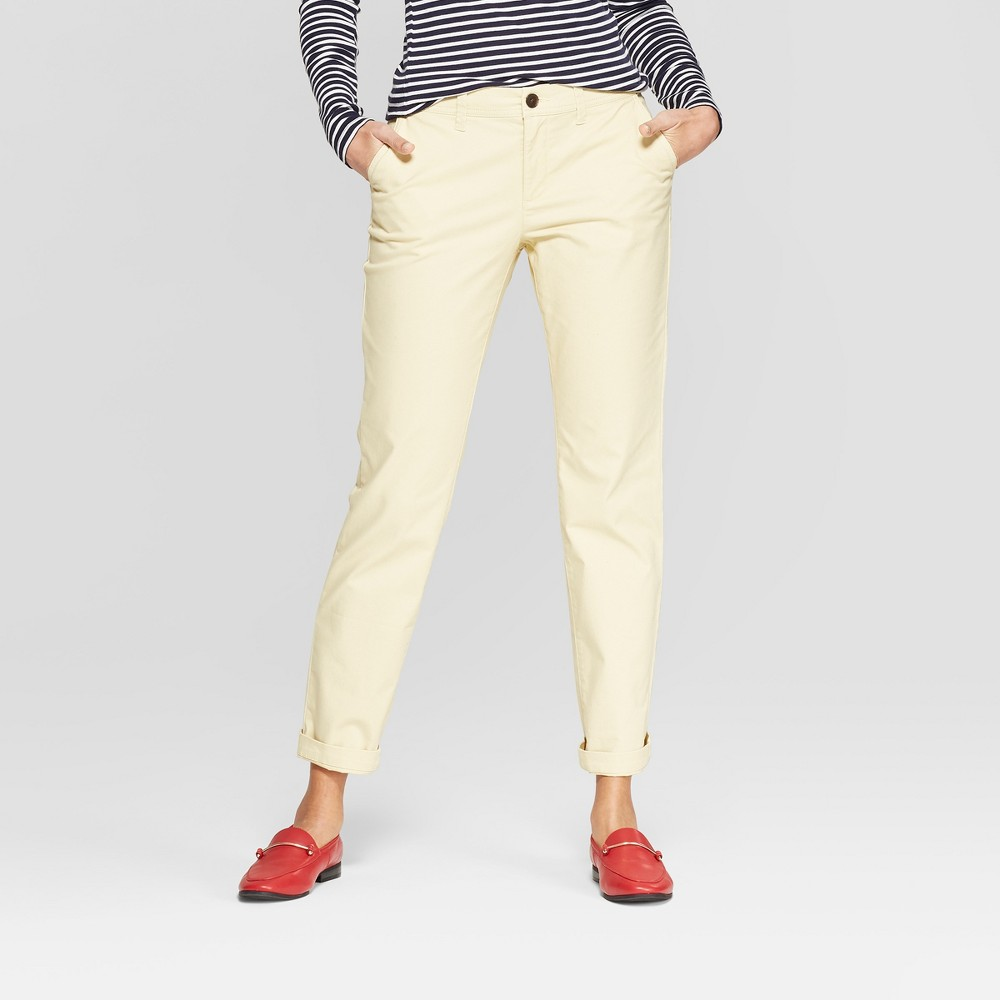 Women's Straight Leg Ankle Length Slim Chino Pants - A New Day Yellow 14