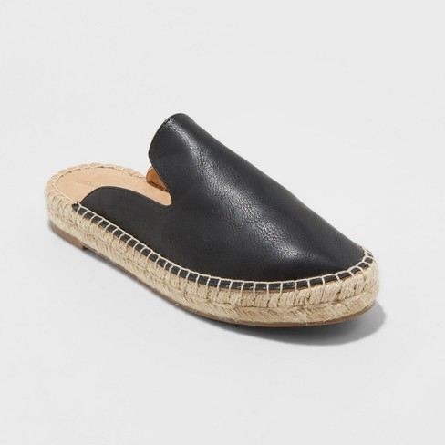 840cafdcd Women's Clara Espadrille Flat Mules - Universal Thread™ Black 8.5 : Target