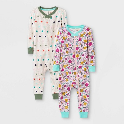 Baby Girls' 2pk Floral Snug Fit Pajama Romper - Cat & Jack™ Oatmeal Heather