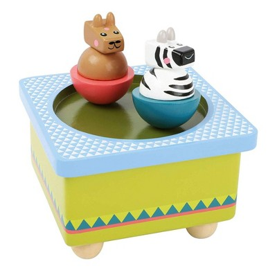 Small Foot Wooden Toys Jungle Themed Spinning Animals Music Box