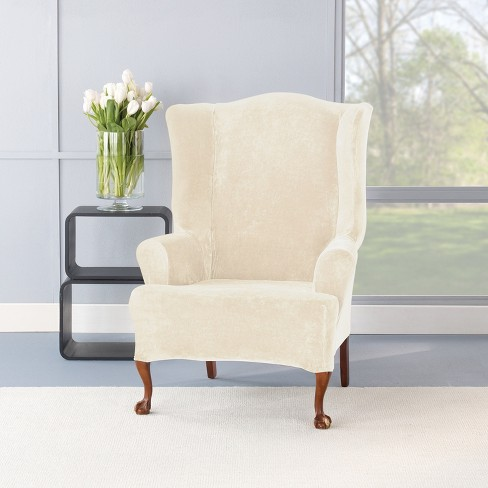 Fantastic Stretch Plush Wing Chair Slipcover Sure Fit Target Machost Co Dining Chair Design Ideas Machostcouk