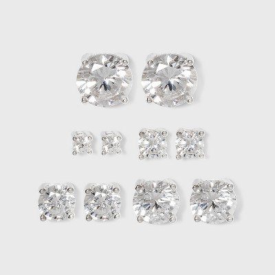 Studs Sterling Cubic Zirconia Earring Set 5pc - Silver/Clear