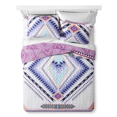 Purple Nostalgika Tribal Reversible Quilt Set (Full/Queen)3-pc - Boho Boutique