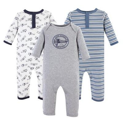 Hudson Baby Infant Boy Cotton Coveralls 3pk, Aviation