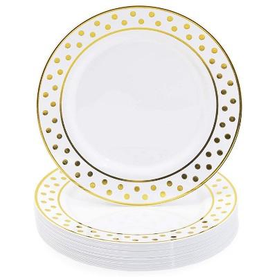 "Juvale 24-Pack Gold Polka Dot Party Supplies, Disposable Plastic Dinner Plates Gold Rim, Dinnerware Set, 9"""