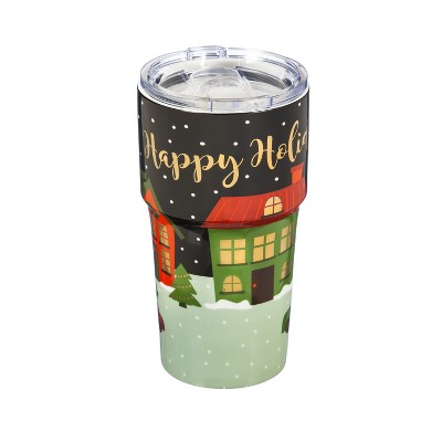 Evergreen Cypress Home Double Wall Ceramic Companion Cup with Tritan Lid 13oz Holiday Spirit