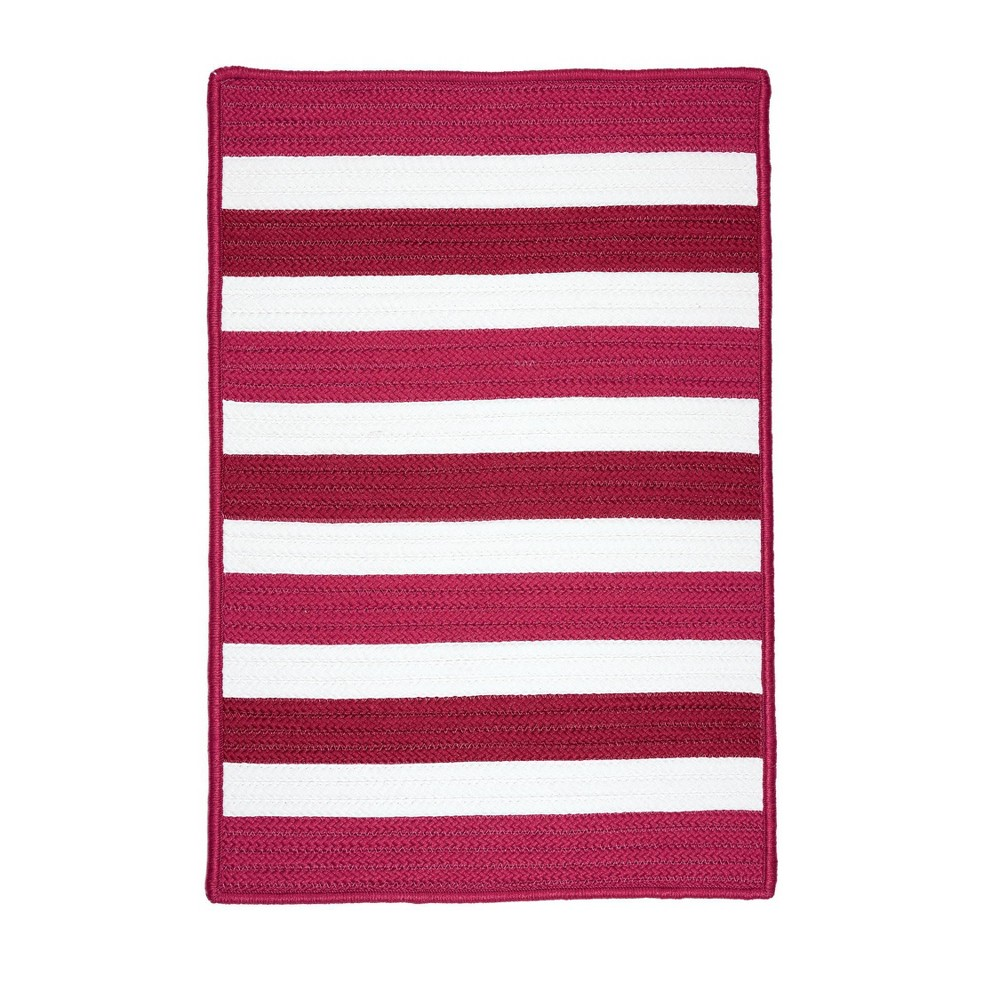 Railroad Stripe Braided Area Rug Red