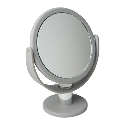 """5"""" Vanity Rubberized Mirror 1X-10X Magnification Gray - Home Details"""