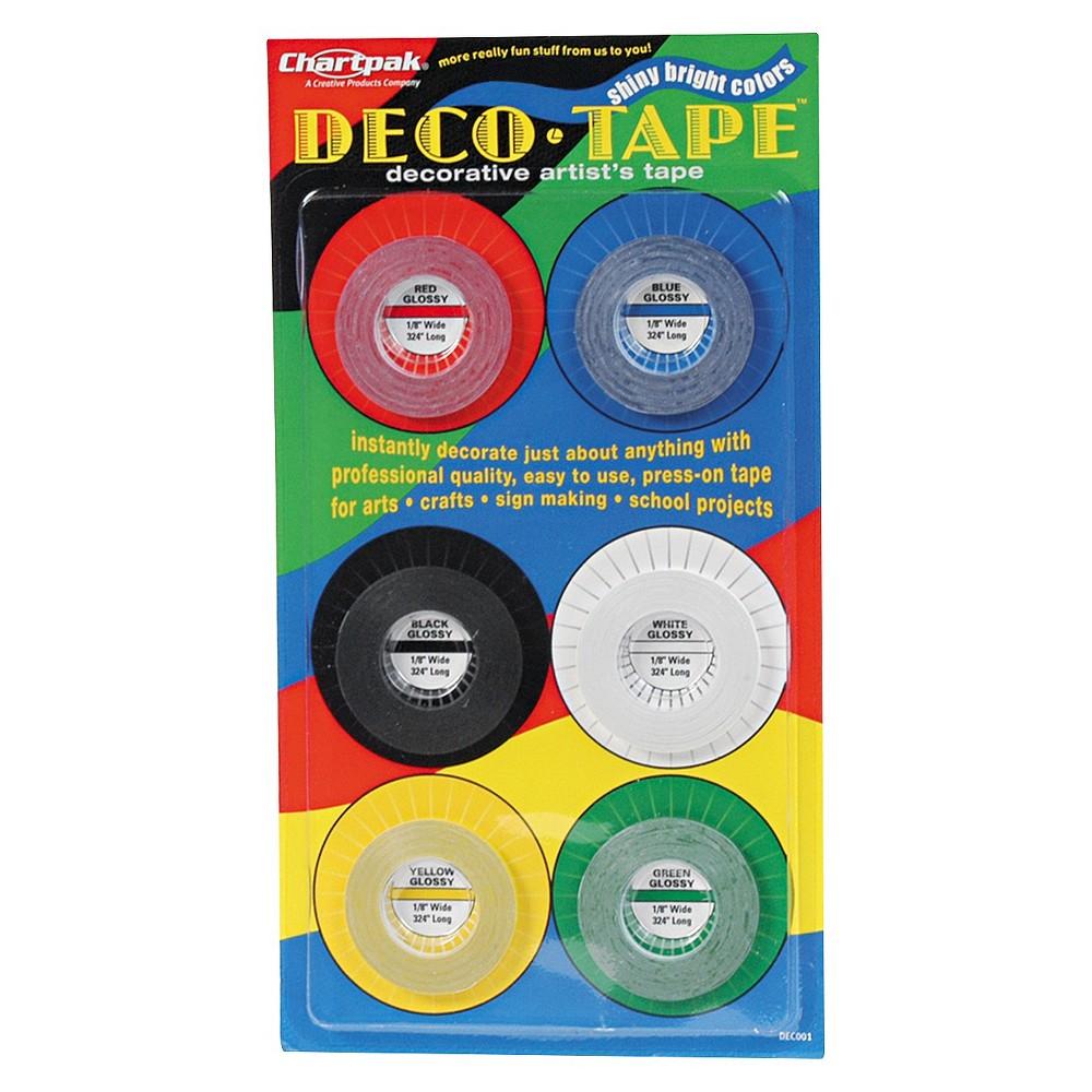 Chartpak Deco Bright Decorative Tape - 1/8 x 324 - Multi-Colored (6/Pack)