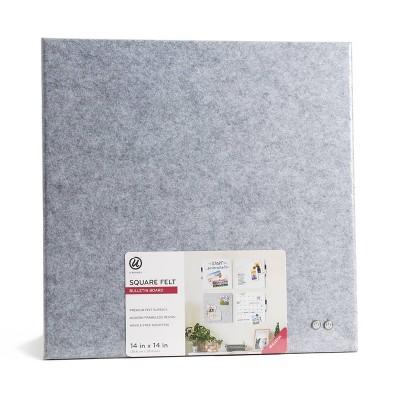 "U Brands 14"" Square Felt Bulletin Board Gray"