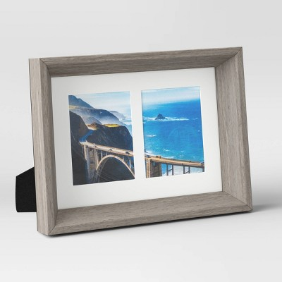 "2.5"" x 3.5"" Double Paper Mat Wedge Picture Frame Gray/White - Room Essentials™"
