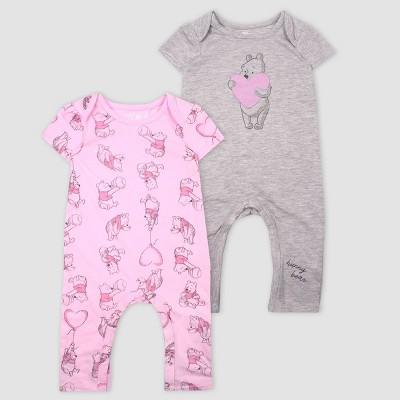 Baby Girls' Disney Winnie the Pooh 2pk Rompers - Light Pink 6M