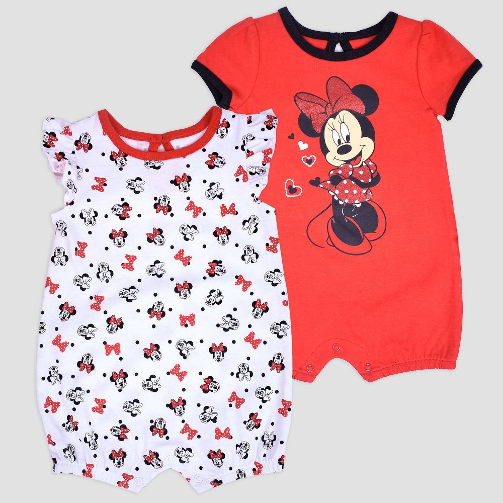 Baby Girls' 2pk Disney Mickey Mouse & Friends Minnie Mouse Romper - Red 0-3M