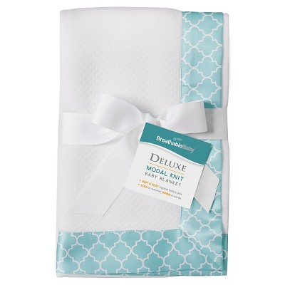 BreathableBaby® Modal Blanket - Moroccan Design - White & Seafoam
