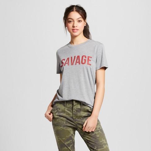 Women s Savage Short Sleeve Crew Neck T-Shirt - Modern Lux (Juniors ) - Gray 1da707570991