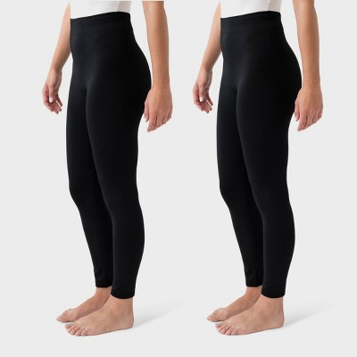 Muk Luks Women's Fleece Lined Tapered 2pk Leggings