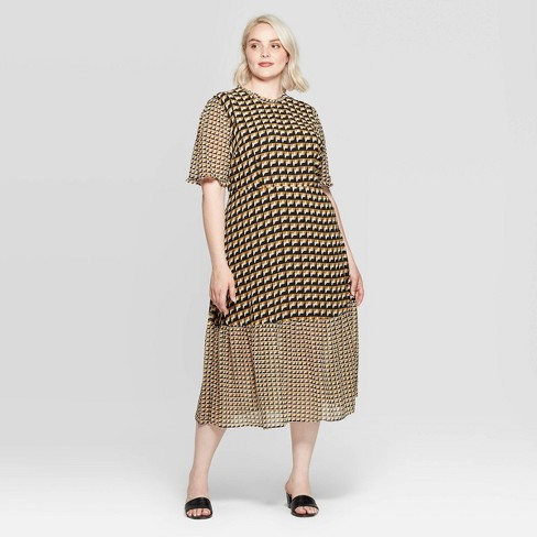 Women's Plus Size Elbow Sleeve Crewneck Midi Dress - Who What Wear™ Black/Beige - image 1 of 3