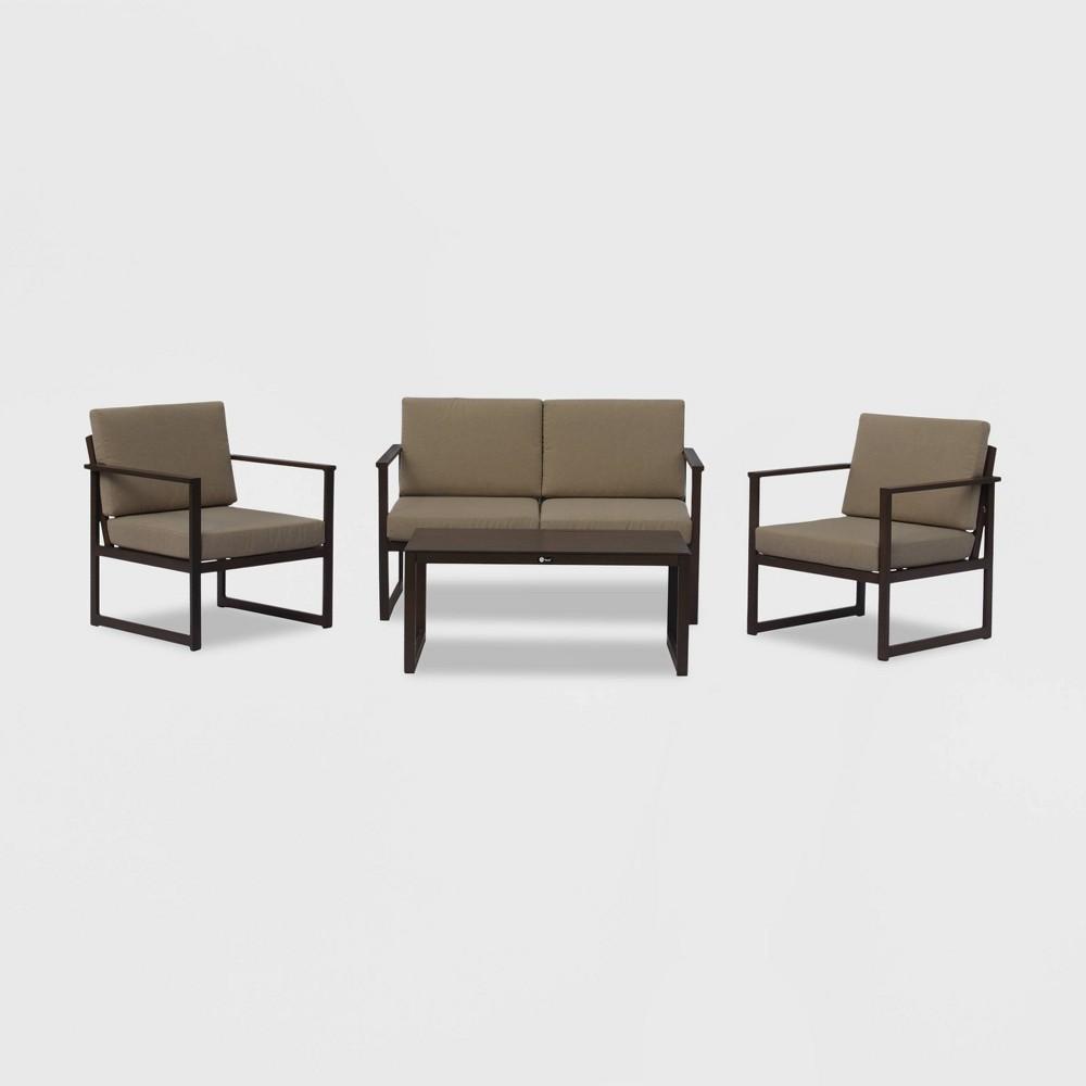 Oceana 4pc Aluminum Outdoor Sofa Set with Cushions - Brown/Gray - Courtyard Casual