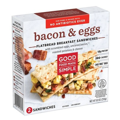 Good Food Made Simple Bacon and Eggs Frozen Flatbread Breakfast Sandwiches - 2ct/8.8oz