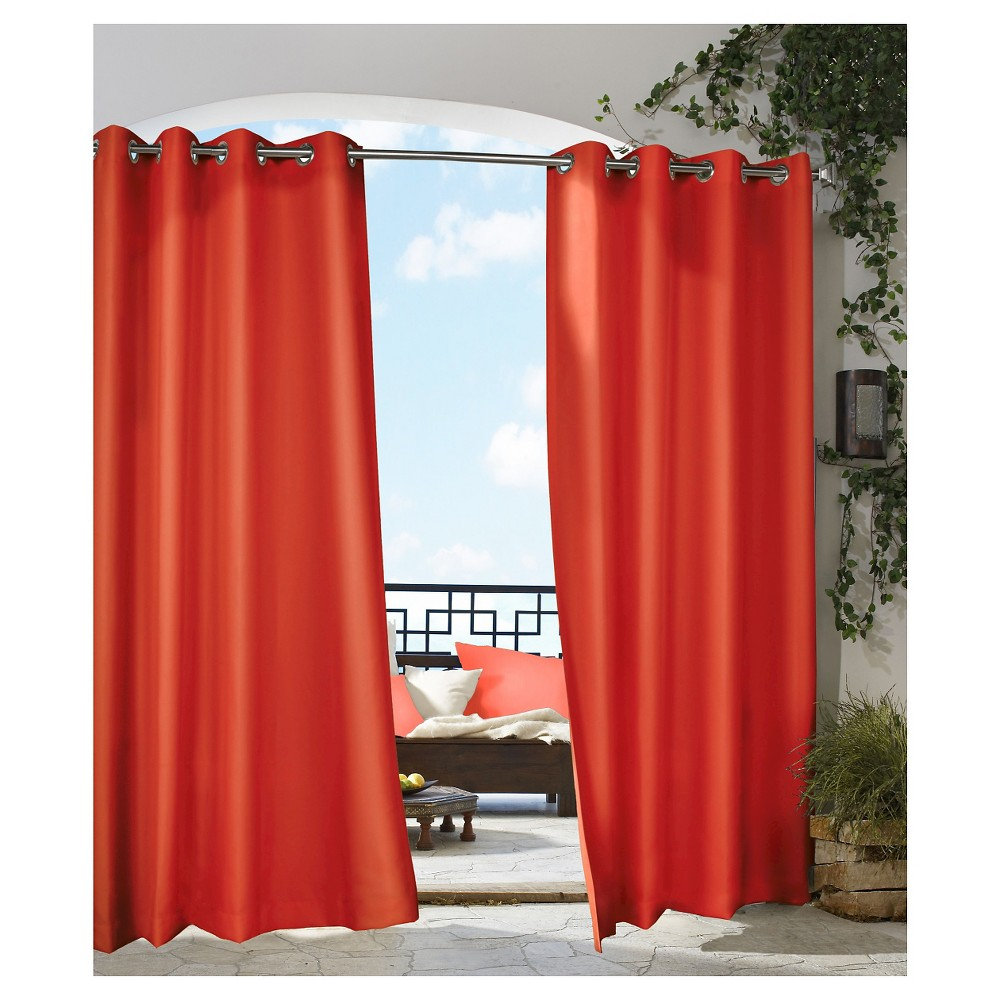 """Image of """"50""""""""x84"""""""" Gazebo Indoor/Outdoor Sheer Curtain Panel Red - Outdoor Décor, Size: 50x84"""""""""""""""
