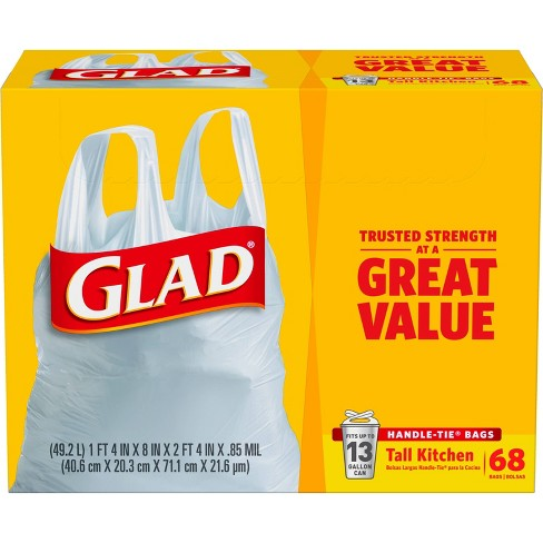 Glad Tall Kitchen Handle-Tie + White Trash Bags - 13 Gallon - 68ct - image 1 of 4