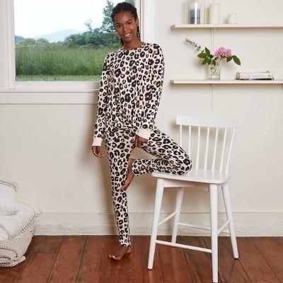 Women's Animal Print Cozy Long Sleeve Top and Leggings Pajama Set - Stars Above™ Oatmeal L