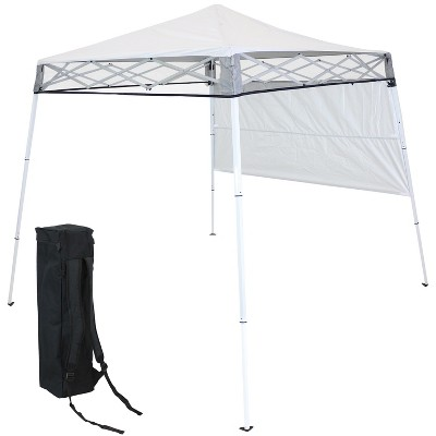 Sunnydaze 6' x 6' Top/7.5' x 7.25' Bottom Slant Leg Portable Backpack Canopy - White