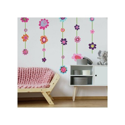 Flower Striped Peel and Stick Giant Wall Decal - RoomMates