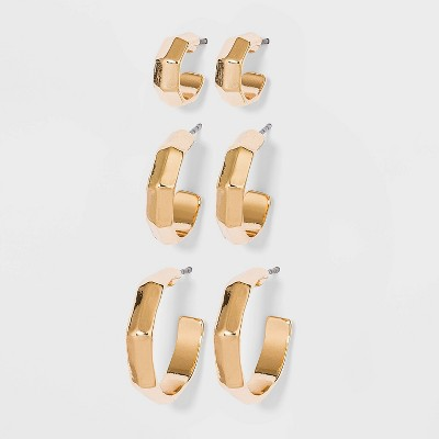 Hammered Textured Hoop Trio Earrings - A New Day™ Gold