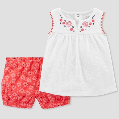 Baby Girls' 2pc Top and Flower Shorts Set - Just One You® made by carter's White 3M