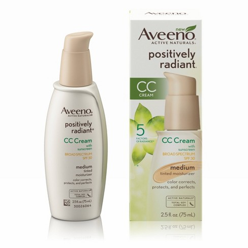 3cdbb90f32ef9 Aveeno Positively Radiant CC Cream Broad Spectrum SPF 30 Medium Skin Color  Correction - 2.5oz   Target