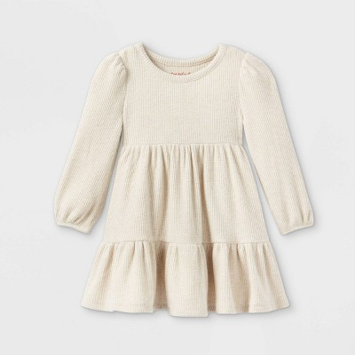 Toddler Girls' Tiered Cozy Long Sleeve Dress - Cat & Jack™ Oatmeal Heather