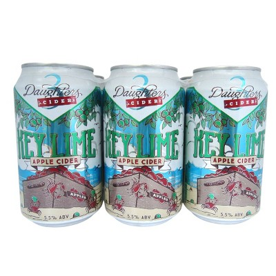 3 Daughters Key Lime Hard Cider - 6pk/12 fl oz Cans