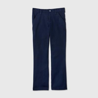 Girls' Flat Front Stretch Uniform Bootcut Fit Pants - Cat & Jack™ Navy