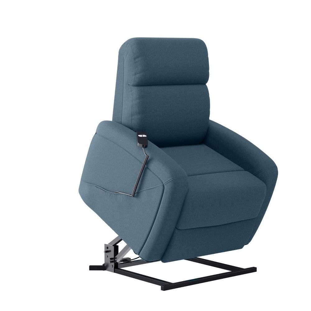 Cam Infinite Position Power Recline And Lift Chair Plush Low Pile Velour Medium Blue Prolounger