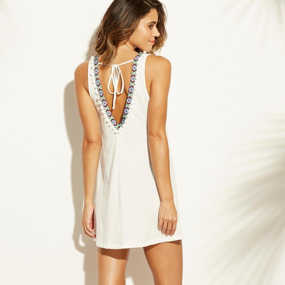 Women's Knit Trim Back Tank Cover Up Dress - Xhilaration White XL