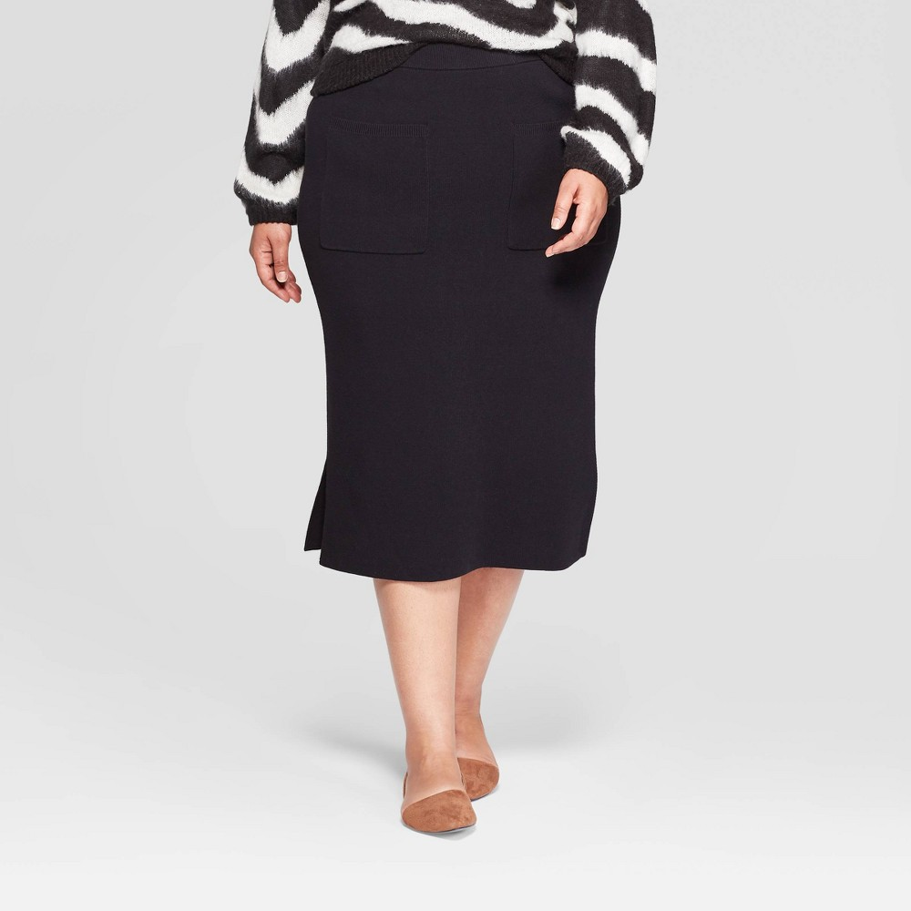 Image of Women's Plus Size High-Rise Front Off Seam Pocket Sweater Midi Skirt - Who What Wear Black 3X, Women's, Size: 3XL